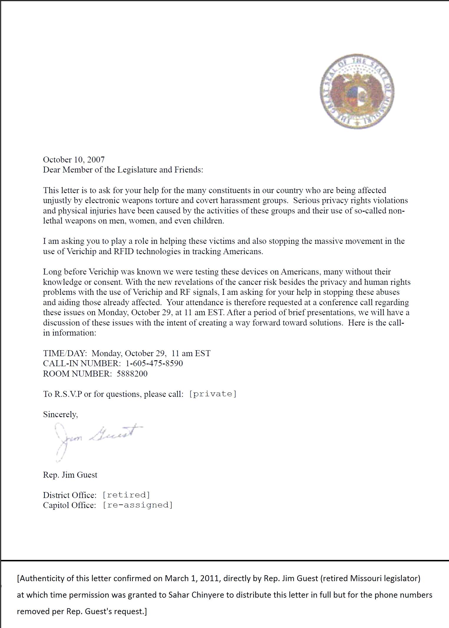 Jim Guest Letter